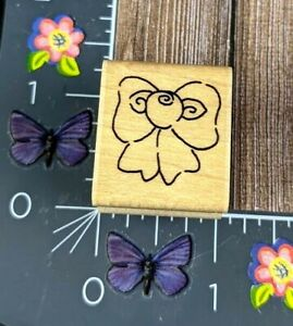 JRL Design Co. Rose Bow Ribbon Rubber Stamp Country Wood Mount #D37
