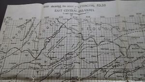 1917 Original EAST CENTRAL OKLAHOMA Map Geology Gas Wells Faults ...