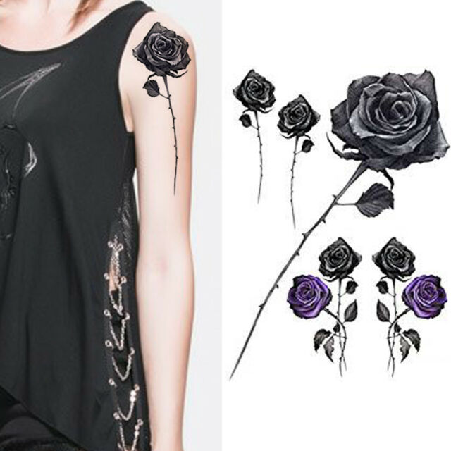 Black Roses Flower Temporary Tattoos Stickers Body 3d Rose Tatoo