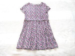 H-amp-M-Kleid-Blumen-grau-pink-gebluemt-Gr-158-SOMMER-wie-Neu