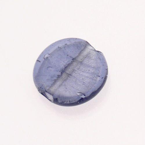 Perle en verre ronde plate 30mm avec une feuille d/'argent couleur bleu