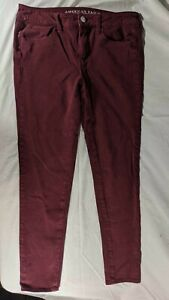 EUC-American-Eagle-Womens-Maroon-Jeans-Jegging-360-Super-Stretch-Sz-10-Sateen-X4