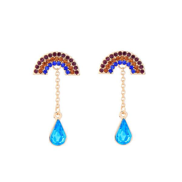 orecchini A perno Dorato Rainbow Multicolore Goccia Blu Retro BB17