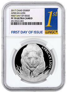 2017-Republic-of-Chad-African-Lion-1-oz-Silver-5000F-NGC-PF70-UC-FDI-SKU43973