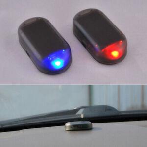 Solar Car Alarm Led Light Security System Warning Theft Flash Blinking Accessory