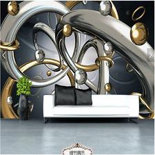 3D Sitting room bedroom TV background Embossed circle ring wallpaper WT1762