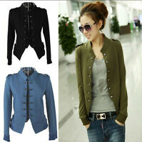Stylish Womens Ladies Jacket Military Short Jacket Double Breasted Epaulet Coat