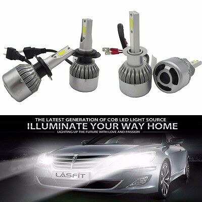 2XH1/H4/H7/9006 COB LED 80W 8000LM Car Headlight Conversation Kit Lamp Bulb