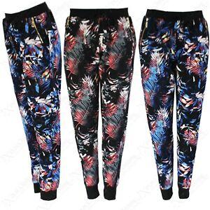 Mujer Estampado Floral Cremallera Pantalon De Chandal Pantalones Haren Salon Ebay