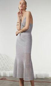 Sass Bide Liquid Metal Silver Metallic Knit Dress Size Xs Ebay