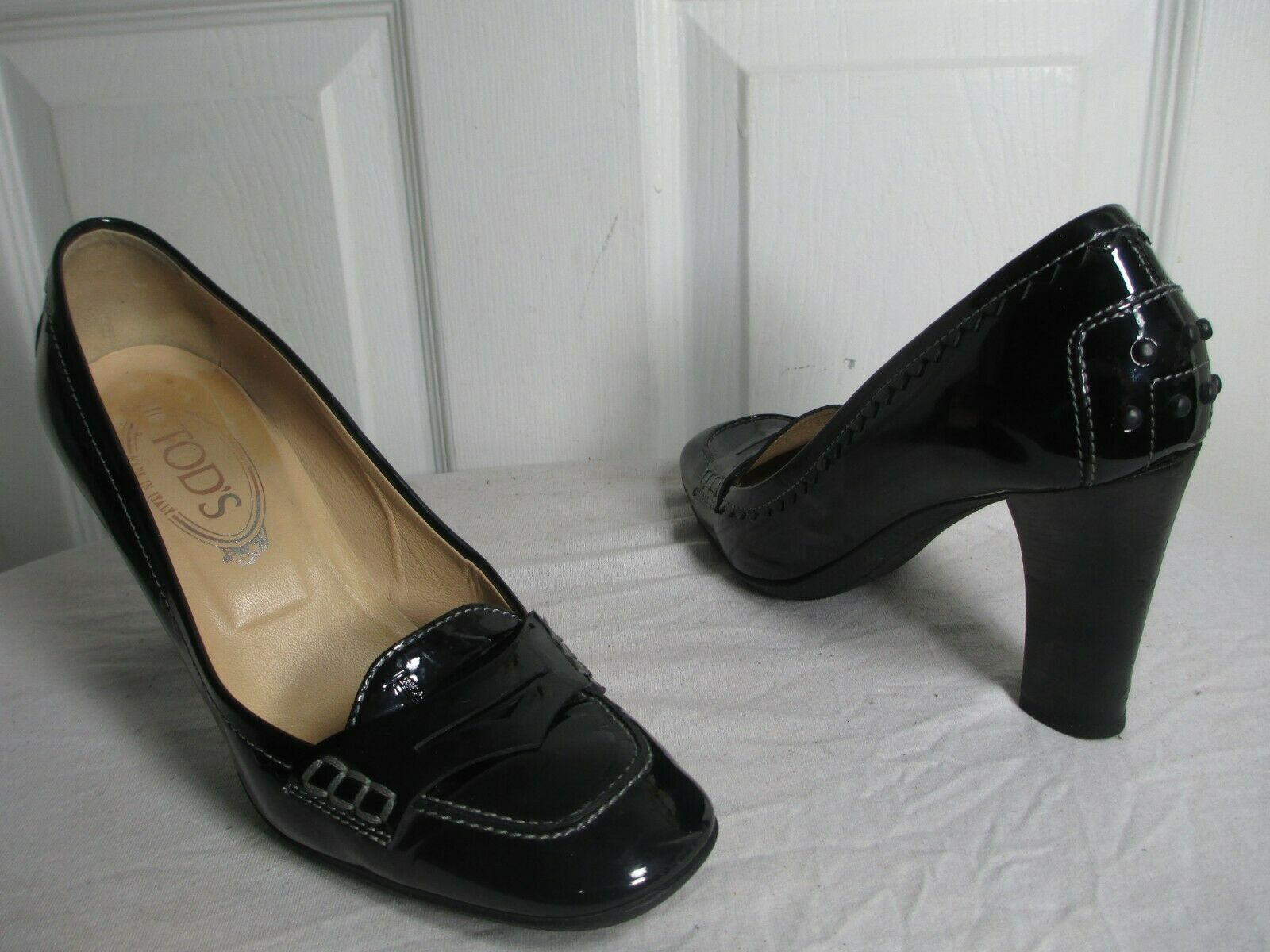 TOD'S donna'S nero PATENT LEATHER HEELS LOAFERS scarpe Dimensione 7 MADE IN ITALY