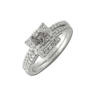 1.3 mm Diamond Bridal Set Halo Semi Mount Ring & Wedding Band 0.50 cttw 14K Gold