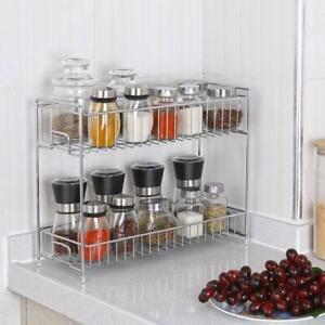 NEX-2-Tier-Countertop-Storage-Organizer-Spice-Jars-Bottle-Shelf-Holder-Rack