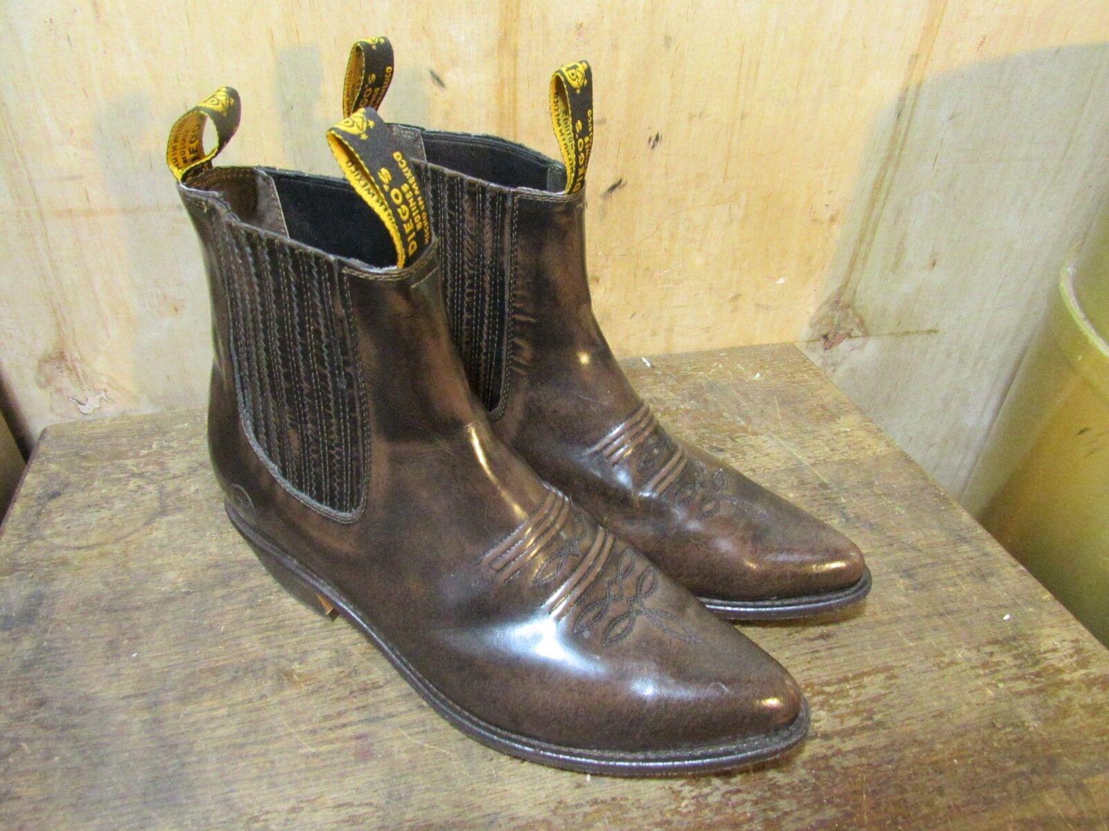 Diego's botines de cuero marrón de mármol Cowboy Tobillo botas Para Hombres Mex 11 US