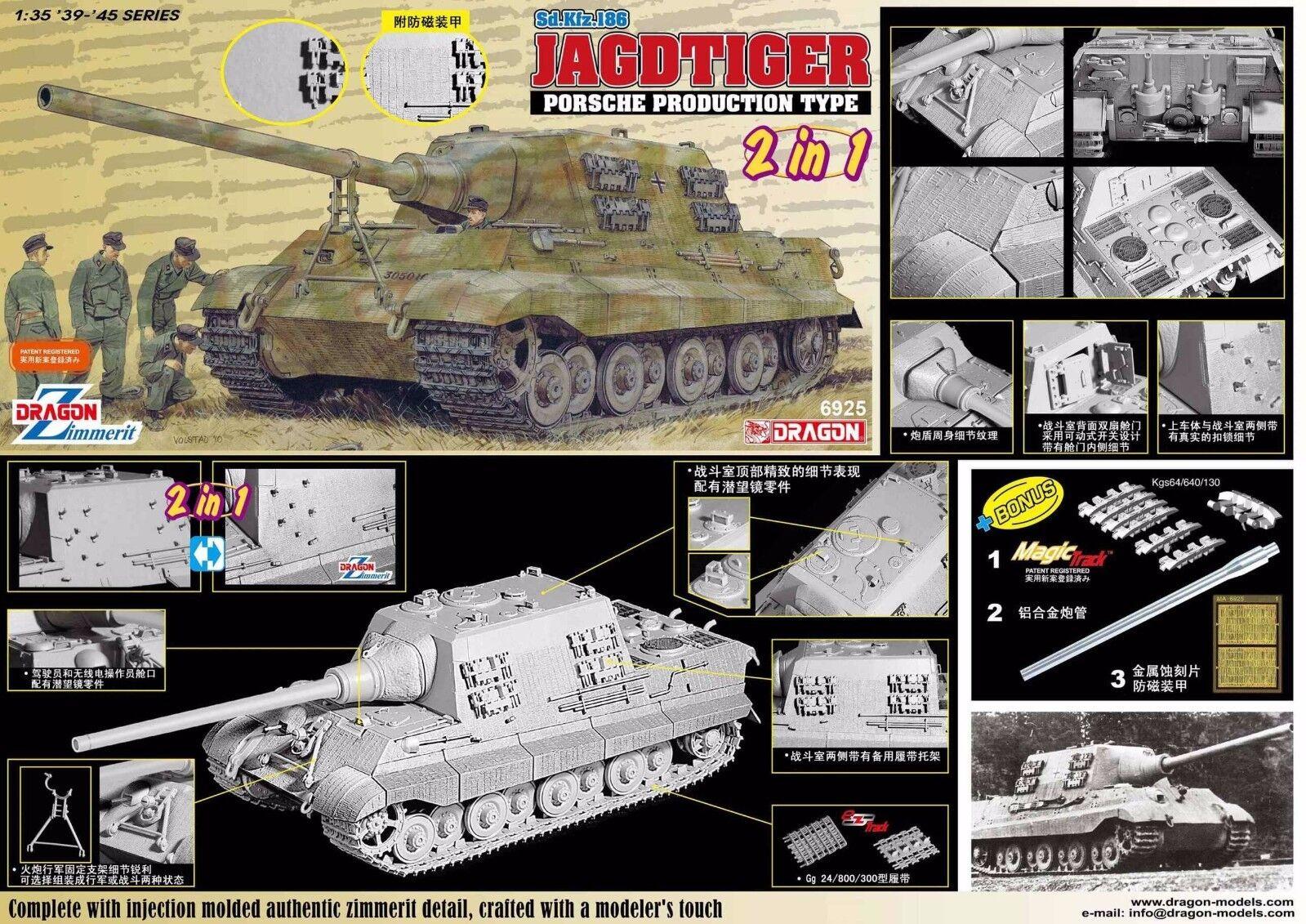 DRAGON  1 35  6925 Jagdtiger Porsche Type w Zimmerit 2 in 1