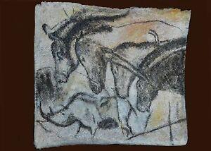 Les Chevaux De Chauvet Peinture Art Prehistorique Papier Mache Ebay