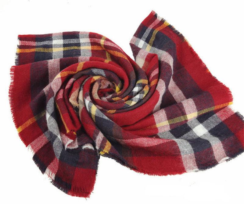 cc47ffb9eb58 Large Cape Style Scarf Scarves Thick Tartan Wrap Plaid Wool Pashmina ...