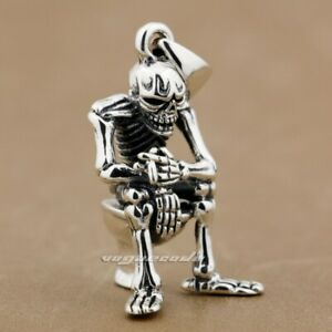 925-Sterling-Silver-Mens-Pendant-Smoking-Skull-On-Closestool-Pendant-8P024D-4PX