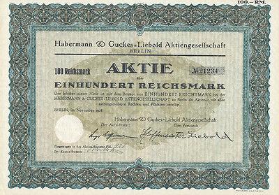 Berlin Habermann und Guckes-Liebold Aktie 100 RM 1928 ungelocht  Holzminden