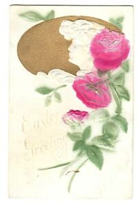 Easter-Greeting-Postcard-Posted-Embossed-Cameo-Roses