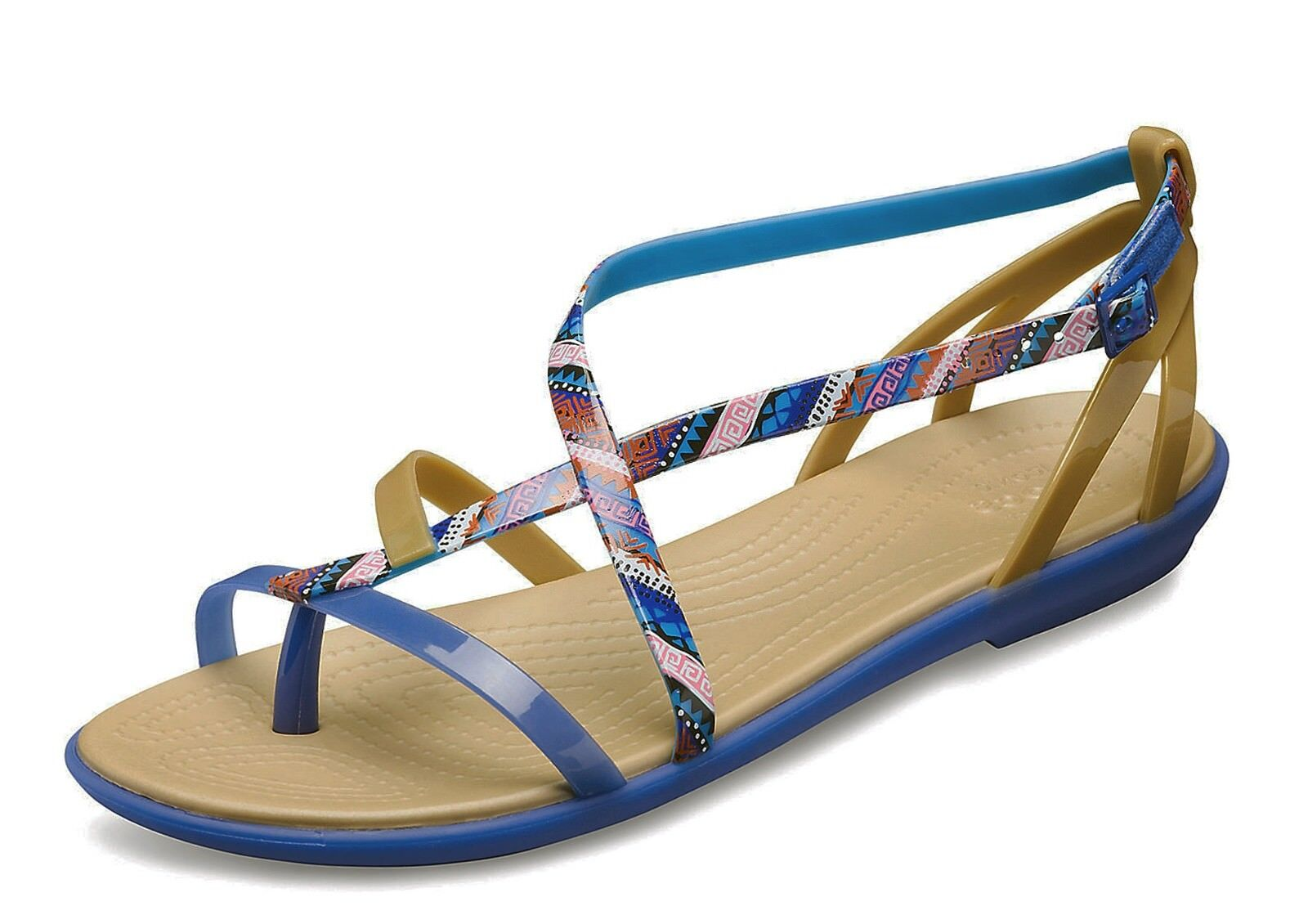 Crocs NEW Isabella sandals Gladiator Graphic blue jean comfort strappy sandals Isabella UK 3-9 309133