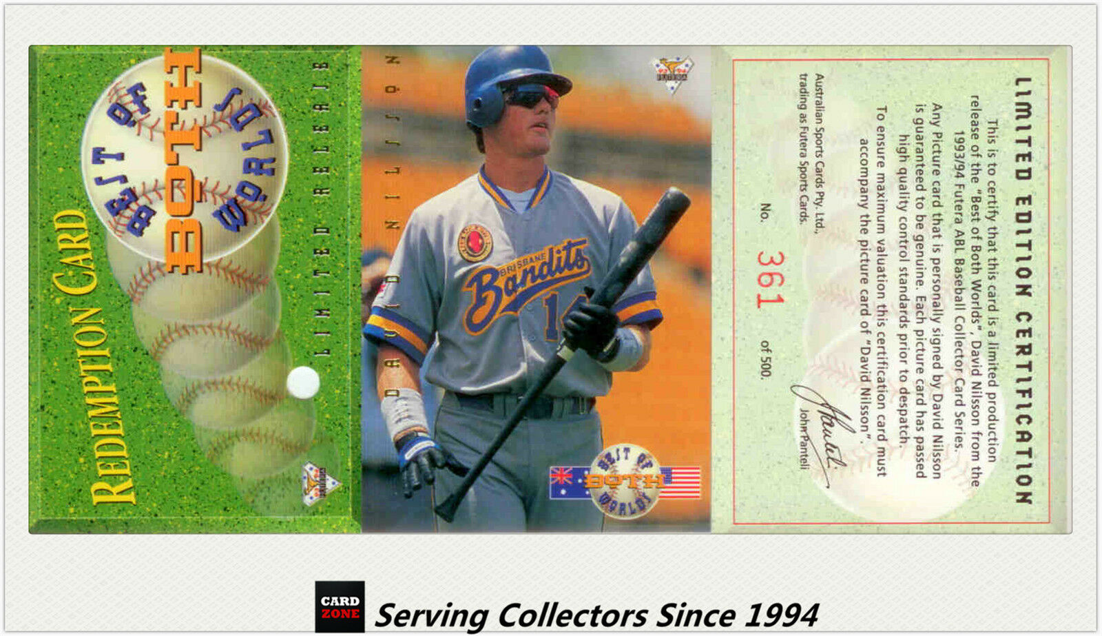1994 Futera Australia Baseball Card Best Of Both World David Nilsson-Rare