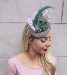 Image is loading Soft-Grey-Green-White-Tweed-Peacock-Feather-Pillbox- c30e2637e47
