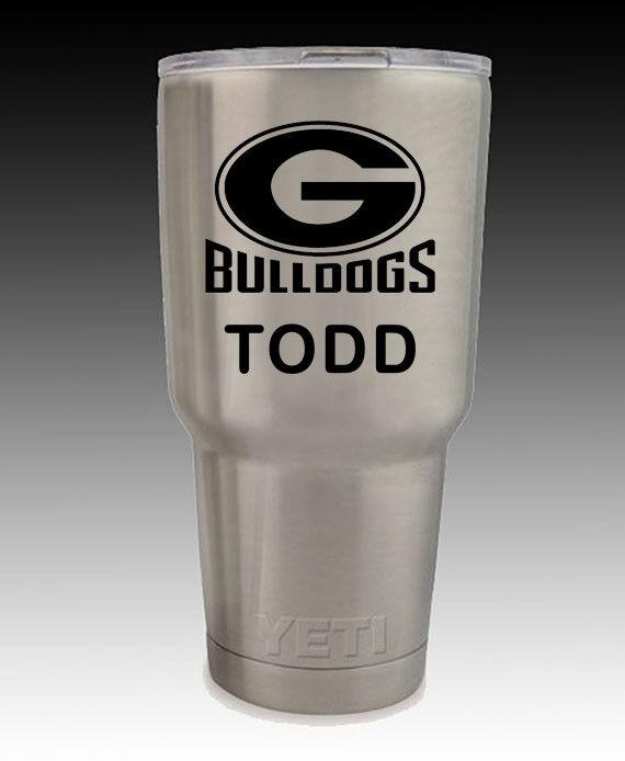 YETI  stainless Rambler 30 oz cup  engraved Georgia Bulldogs free shipping