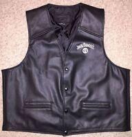 Mens Size XL Leather Jack Daniels Motorcycle Biker Vest