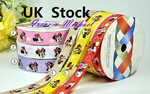 Free-P-amp-P-UK-seller-3-8-034-9mm-Gift-Minnie-Mouse-GROSGRAIN-Printed-Ribbon-AV044