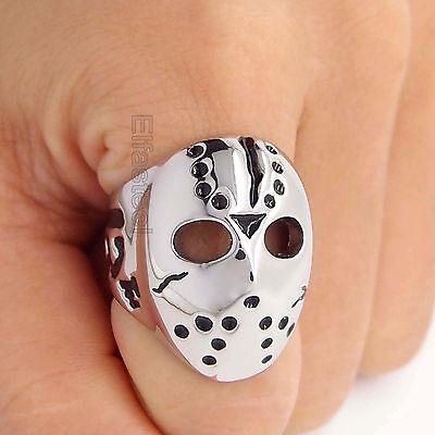 Mens Friday the 13th Jason's Hockey Mask Stainless Steel Biker Ring