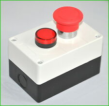 1x New Emergency Stop Switch With 110v Red Pilot Light Control Box