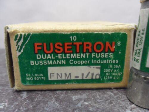 1//10 Amp Fuses 125 Volts NIB Details about  /New Lot Bussmann Fusetron FNM