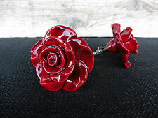 Beautiful DEEP RED ROSE FLORAL FLOWER  DRAWER PULL KNOB ~ NEW