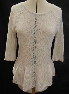 Prochain-Femmes-blanc-casse-floral-haut-dentelle-mi-manche-volant-de-dentelle-Chemisier-Top-en-UK12