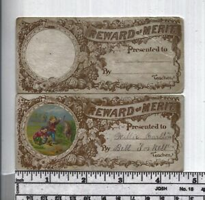 Antique-Reward-of-Merit-Rare-Set-of-Add-Ons-With-amp-Without-Cut-Out-Picture