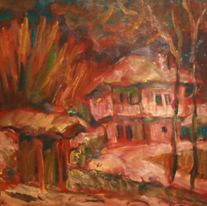 1990 European expressionist oil painting abstract