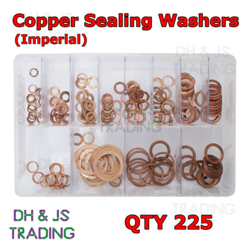 Assorted Box of Copper Sealing Washers Imperial 1//4 5//16 1//8 3//8 1//2  QTY 225