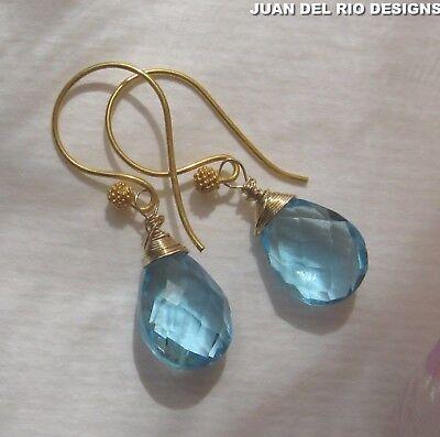 *Swiss Blue & Gold* Traum Quarz Ohrringe 925 Sterling Silber 916/ 22K vergoldet