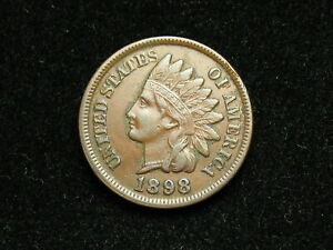 JUST-IN-EXTRA-FINE-1898-INDIAN-HEAD-CENT-PENNY-w-DIAMONDS-amp-FULL-LIBERTY-37B