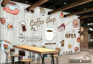 White Wooden Wall Graphic Design Coffee Shop Restaurant Art Wall