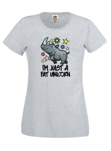 Unicorn T Shirt Fat Unicorn Ladies Womens Cotton Tee Shirt Tshirt T-Shirt New