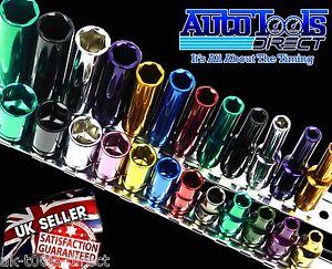 Sistema-del-zocalo-Varios-Colores-1-4-034-Profundo-amp-Superficial-24pc-Kit-6pt-4-13mm-Acero-de-cr-v