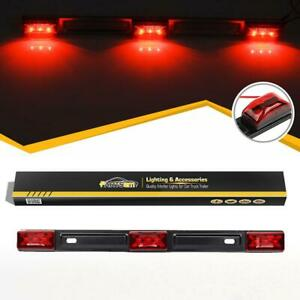 Red-Clearance-ID-BAR-Marker-Light-3-Light-9-LED-Trailer-Sealed-Stainless-Steel