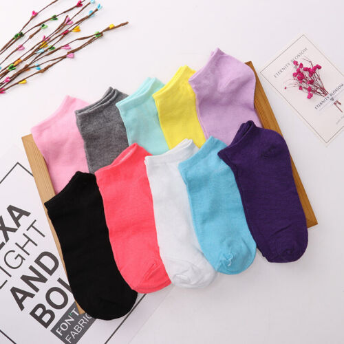 4 Pairs Women Cotton Invisible Soild Ankle Socks Casual Low Cut Non-Slip Hosiery