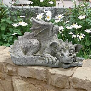 Gothic Medieval Dragon Tail Biting Whimsical Garden Statue Sculpture NEW