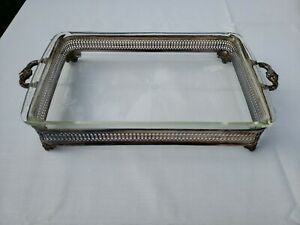 """Vintage Silver Plated Casserole Buffet Dish With Pyrex Insert 13.5 x 8.75"""""""