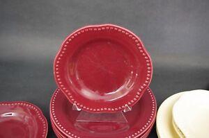 Set-of-2-Pottery-Barn-Emma-Salad-Plates-Shallow-Bowls-Red-Maroon-Burgundy-8-034