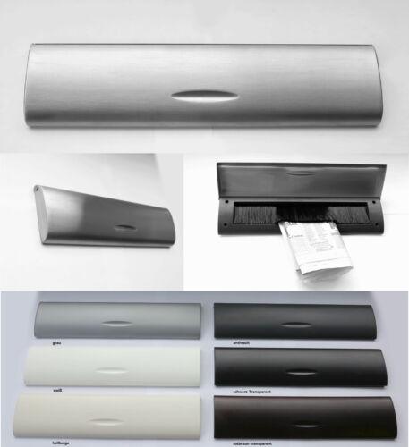 Innenklappe-Mit Bürste-345 x 85 mm-Briefklappe-Briefeinwurf-Edelstahl+Kunststoff