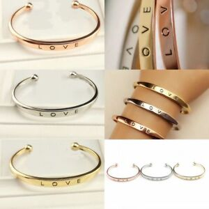 Wedding-Men-039-s-Women-039-s-Stainless-Steel-Screw-Head-Love-Cuff-Bangle-Bracelet-Gift